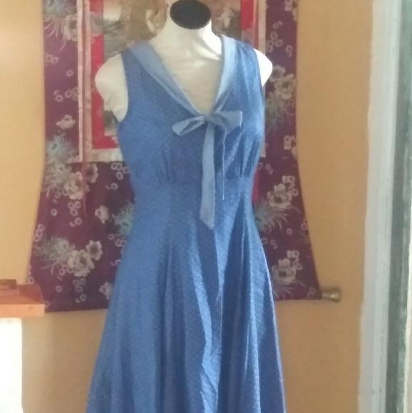 Heart of Haute Dresses & Skirts - Heart of Haute Blue Polkadot Sleeveless Dress L